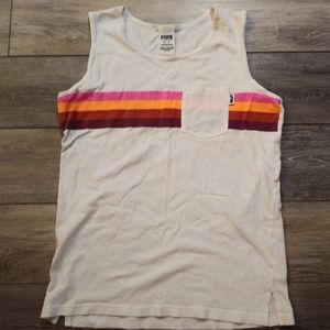 Pink striped sleeveless t shirt with pocket